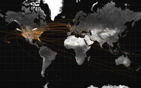Data artist Jer Thorp extracted location information from tweets to create a graphic depicting air travel. Credit: Courtesy of Jer Thorp