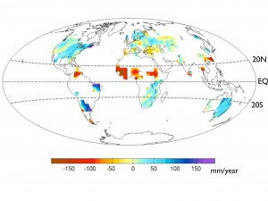 UW / Y.-T. Hwang Global precipitation change between 1931-1950 and 1961-1980. The African Sahel, center, is much drier, while east Africa and east Brazil are wetter.