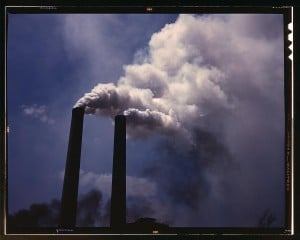 Sulfate-laden aerosols coming out of a U.S. smokestack in 1942. Emissions rose steadily until legislation was passed in the late 1960s and '70s.