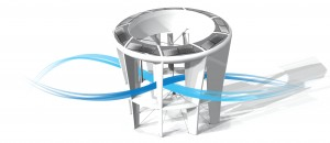 The McCamley turbine looks quite different to traditional turbines and incorporates solar cells.