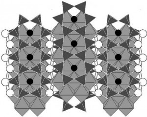 The Ring Cycle Amphibole's lattice structure is made up of tetrahedral and octahedral structures linked together in a way that creates a series of rings. It's those rings — A-sites — that could provide a home for otherwise finicky noble gases. Credit: Parman lab/Brown University