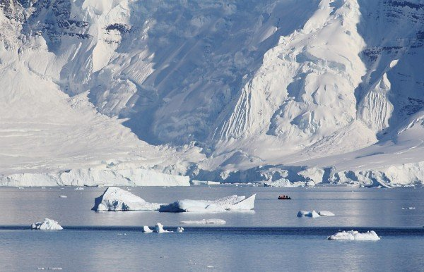 An inflatable boat in the waters off the Antarctic Peninsula.