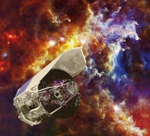 An artist's conception of the Herschel Space Observatory. Far-infrared images from Herschel were used to discover the earliest known galaxy undergoing a massive starburst, only about 880 million years after the big bang. Credit: ESA