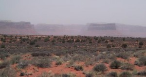 This image shows a dust storm in Canyonlands National Park. Credit: Jason Neff