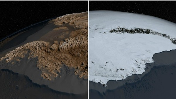 These images depict the differences between Antarctica's ice sheet with its underlying topography. The topography map, called Bedmap2, was compiled by the British Antarctic Survey and incorporates millions of new measurements, including substantial data sets from NASA's ICESat satellite and an airborne mission called Operation IceBridge. Credit: NASA's Goddard Space Flight Center