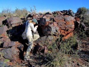 Caltech graduate student Jena Johnson examines a 2.415 billion-year-old rock in South Africa where evidence of an early manganese-oxidizing photosystem was found. Credit: Caltech