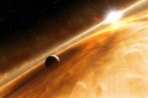 Many stars are enshrouded in a dust cloud that may hide undiscovered planets with conditions suitable to life. The star Fomalhaut, depicted in this artist's impression, was recently found to have a faint dust cloud in a region resembling the Main Asteroid Belt in our solar system that might harbor yet undetected planets. Credit: ESA, NASA and L. Calcada/ESO