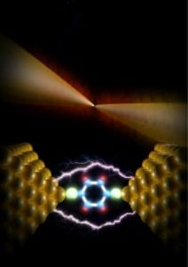 An artist's representation of atomic-scale heat dissipation, which poses a serious obstacle to the development of novel nanoscale devices. University of Michigan engineering researchers have, for the first time, established a general framework for understanding heat dissipation in several nanoscale systems. Credit: Enrique Shagun, Scixel.