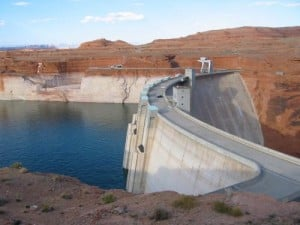 This is Lake Powell and Glen Canyon Dam in July 2004, when the high-water mark was about 120 feet above the water's surface. This year, Lake Powell and Lake Mead are heading toward their lowest levels since 1968. Credit: Bradley Udall, Univ. of Colorado