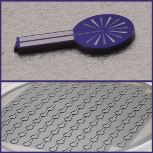 Top: The TES package contains the sensor (about one-fourth the width of a human hair) at the center of the circular section. Bottom: A wafer with multiple sensor package substrates.