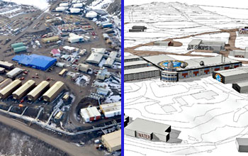 A photo of the existing McMurdo Station (left) is compared to an artist's conception of the future station as envisioned in the master plan. Credit: NSF