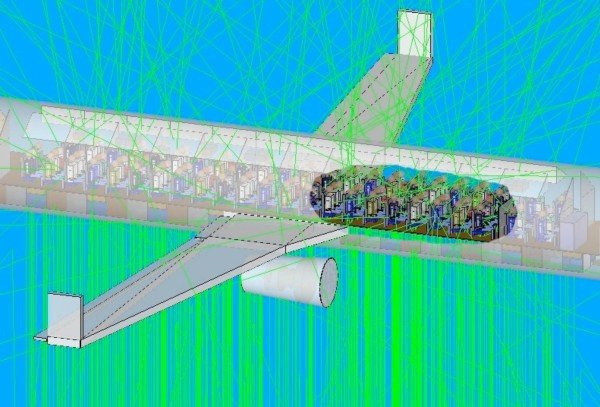 Simulation of a Boeing 737 struck by dark lightning. Green tracks show the paths of gamma rays from the dark flash as they enter the aircraft from below. The radiation dosage to passengers and crew can be calculated from these simulations, which were run with NRL SSD's SWORD radiation transport environment. SWORD is an NRL-developed tool that provides an interface to some of the most commonly-used Monte Carlo simulation engines for modeling the transport of high energy radiation through matter. SWORD is a vertically-integrated system that allows users to graphically set up and run simulations and analyze the results in a single package.  (Photo: U.S. Naval Research Laboratory)