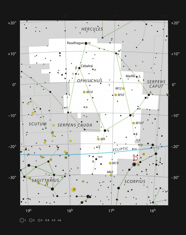 This chart shows the large constellation of Ophiuchus (The Serpent Bearer). Most of the stars that can be seen in a dark sky with the unaided eye are marked. The location of the system Oph-IRS 48 is indicated with a red circle.