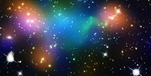Abell 520 is a gigantic merger of galaxy clusters located 2.4 billion light years away. It appears to have left behind a large clump of dark matter. (Space Telescope Science Institute)