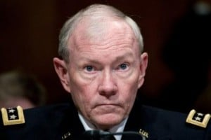 Gen. Martin Dempsey testifies on June 12, 2013 on Capitol Hill in Washington, DC. The US military is reviewing its rules of engagement to deal with the growing threat of cyber crime, Dempsey said Thursday.