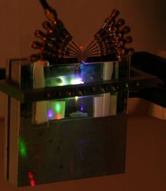 The new spatial light modulator for creating holographic video images. The modulator is illuminated with red, green and blue laser light to create a full-colour holograms. Daniel Smalley