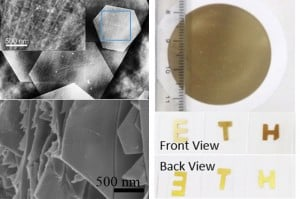 The hybrid film on a filter (r.a.) and on glass (ETH logo). REM reveals the micro (upper left) and nano (bottom left) structure of this particular material. (Images: from Li, C., Adv. Mater. 2013)