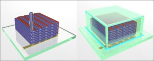 To create the microbattery, a custom-built 3D printer extrudes special inks through a nozzle narrower than a human hair. Those inks solidify to create the battery's anode (red) and cathode (purple), layer by layer. A case (green) then encloses the electrodes and the electrolyte solution added to create a working microbattery. [Credit: Ke Sun, Bok Yeop Ahn, Jennifer Lewis, Shen J. Dillon]
