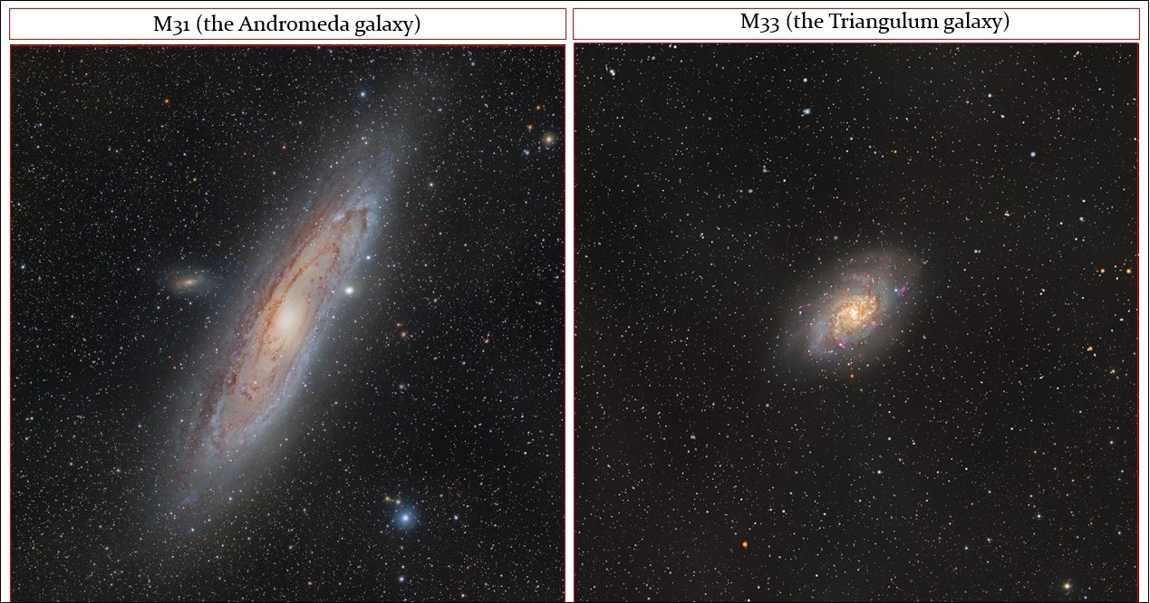M31 and M33 are the nearest spiral-galaxy analogues to our own Milky Way, and distances for those galaxies are important since they help constrain the expansion rate and age of the Universe (image credit: R. B. Andreo, cropped/assembly by DM).