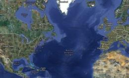 Continental Europe and America could be joined in 220 million years. Image: Google maps.