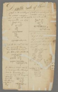 This undated photo provided by permission of the Houghton Library at Harvard University in Cambridge, Mass., shows one of two pages (call number MS Am 1326) from the library's archives that Illinois State University math professors Nerida Ellerton and Ken Clements on Friday, June 7, 2013, confirmed as two new pages to add to the math notebook believed to be the oldest surviving document written by Abraham Lincoln. The pages are from the 1820s. Lincoln's stepmother gave the notebook to Lincoln law partner William Herndon after the 16th president's death. (AP Photo/With permission of the Houghton Library, Harvard University)