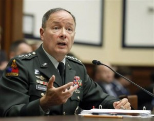 "In this Sept. 23, 2010, file photo Army Gen. Keith B. Alexander, then-commander of the U.S. Cyber Command, testifies about cyberspace operations during a hearing on Capitol Hill in Washington. ""More times than we can count, we've made history, without history even knowing we were there,"" reads a quote on the National Security Agency's web page by current NSA director Alexander. The NSA's experts include mathematicians, and cryptologists, who do everything from breaking codes to learning and translating multiple foreign languages, as well as computer hackers who engage in offensive attacks. (AP Photo/Manuel Balce Ceneta, File)"