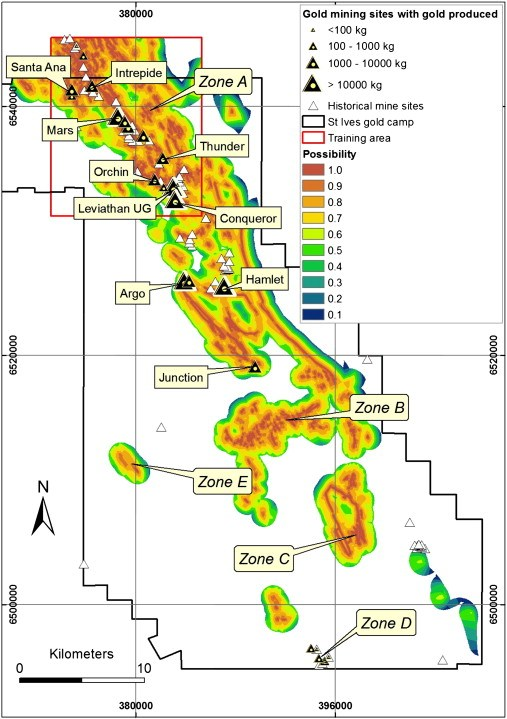 Predictive mineral map: reds indicate areas of high potential for gold traces and the blues represent the low potential areas.