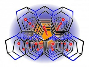 A newly synthesized borosilicid framework hosts lithium atoms in its channels, making it a promising candidate for electrodes of lithium-ion batteries. Credit: T. Faessler/M. Zeilinger, Technische Universitaet Muenchen