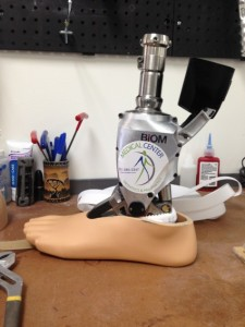 This is one of the prototype foot prosthetic devices at the Medical Center Prosthetics center. (Photo by Jessica L. Tozer)