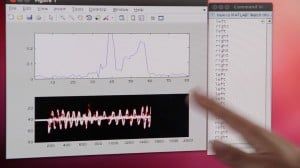 A change in the wireless signal is shown in real time as a user moves his hand.