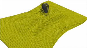 This simulation models the perforation of a six-layer harness satin weave Kevlar target (four inches in width) by a 0.44 caliber copper projectile. Credit: Eric Fahrenthold, The University of Texas at Austin