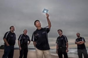 ACES researchers with the flexible water splitting polymer. From left: Professor Gerry Swiegers, Professor David Officer, Associate Professor Jun Chen, Professor Gordon Wallace and Dr Pawel Wagner.