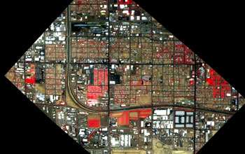 Vegetation (red), soil (brown, tan), built materials (white) in a south Phoenix neighborhood. Credit: NASA