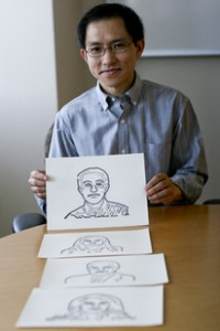 Boaxin Li's computer-generated, two-dimensional images enable people with visual impairments to identify individuals by their facial contours. Li is an associate professor of computer science at Arizona State University. Credit: Rosie Gochnour/ASU