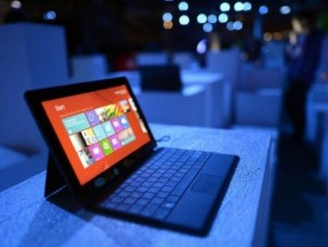 "The new Microsoft Surface tablet on display in New York on October 25, 2012. Microsoft on Thursday unveiled an update to its latest Windows operating system that included a return of a ""Start"" button that had been missed by longtime users of the computer software."