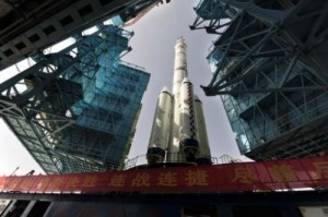 """The Shenzhou-10 on its launch pad in Jiuquan, in the Gobi desert, on June 3, 2013. The Shenzhou-10—the name means """"Divine Vessel""""—was due to lift off at 0938 GMT."""