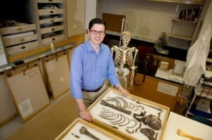 Dr. Neil Roach, a postdoctoral scientist in GW's Center for the Advanced Study of Hominid Paleobiology in the Columbian College of Arts and Sciences at the George Washington University, is the lead researcher for a study published on the cover of the June 27 edition of the journal Nature. By examining evolutionary anatomy and conducting an experiment with baseball players, Dr. Roach and colleagues found that certain anatomical features allow humans to store and release energy in the shoulders-- features that first appeared 2 million years ago when man began to hunt. Credit: William Atkins