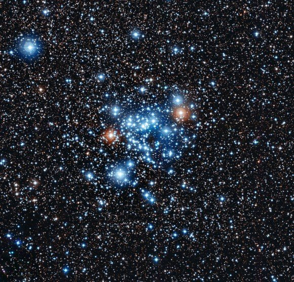 Thirty-six of the stars in this open star cluster, NGC 3766, are a variable star never seen before. Observations were made with the European Southern Observatory's La Silla Observatory. Credit: ESO