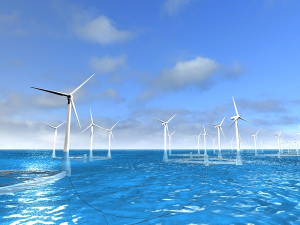 Figure 1. Architectural rendering of a floating offshore wind farm. © Takeshi Ishihara