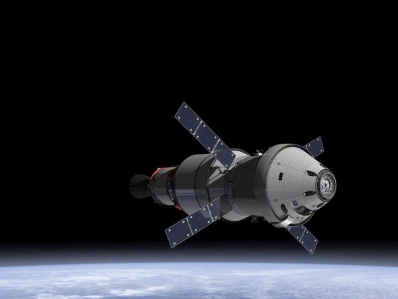 NASA Orion spacecraft blasts off atop 1st Space Launch System rocket in 2017 – attached to European provided service module – on an ambitious mission to explore Deep Space some 40,000 miles beyond the Moon, where an asteroid could be relocated as early as 2021. Credit: NASA