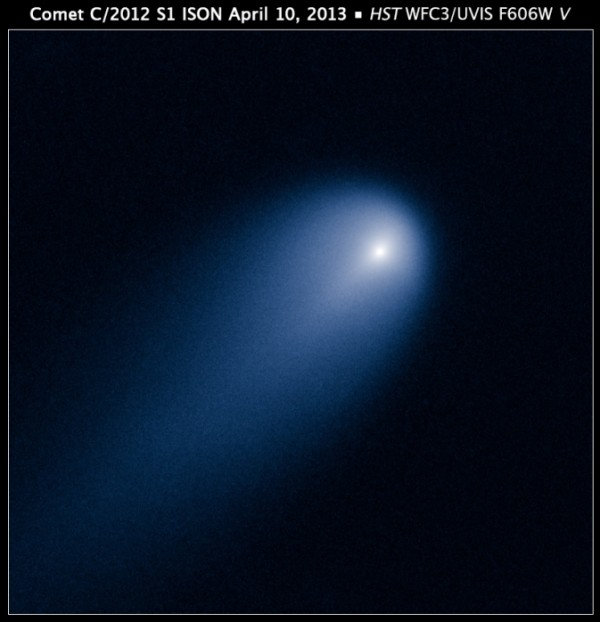 Hubble's view of Comet ISON (C/2012 S1) on April 10, 2013. This image was taken in visible light. The blue false color was added to bring out details in the comet structure. Image Credit: NASA, ESA, J.-Y. Li (Planetary Science Institute)