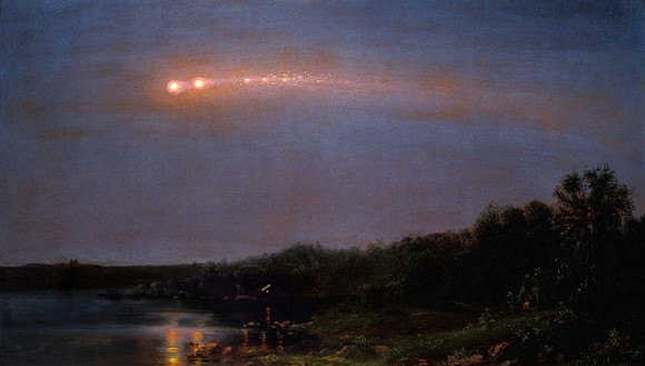 Painting of The Meteor of 1860 by Hudson River School artist Frederic Church. (Credit: Frederic Church, courtesy of Judith Filenbaum Hernstadt).