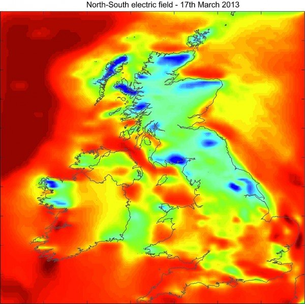 A snapshot of the electric field strength across the UK during the geomagnetic storm of 17 March 2013. The blue areas are where the field was most strongly negative and the red areas are where it was most strongly positive. This electric field causes currents to flow in any conducting structures, including the power grid. Credit: British Geological Survey©NERC.