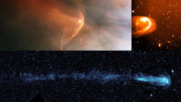 Other stars show tails that trail behind them like a comet's tail. Scientists used NASA's Interstellar Boundary Explorer to confirm that our solar system has one too. From top left and going counter clockwise, the stars shown are: LLOrionis; BZ Cam; and Mira. Image Credit: NASA/HST/R.Casalegno/GALEX