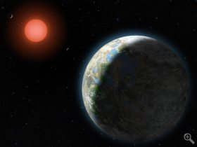 A planet with clouds and surface water orbits a red dwarf star in this artist's conception of the Gliese 581 star system. New findings from the University of Chicago and Northwestern University show that planets orbiting red dwarf stars are more likely to be habitable than previously believed.