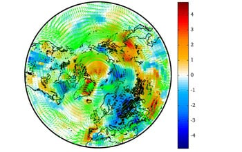 Simulation of surface temperature changes due to aerosols from Northern Hemisphere fires.