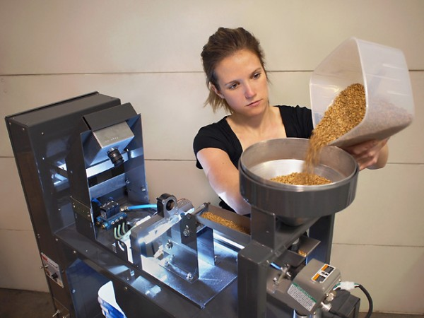Biological science aide Anne Berry puts wheat in the hopper of a color-image sorter. The ARS-developed camera behind her takes and processes a color image of each kernel as it falls off the end of the chute. The kernels are then sorted based on visual features and deposited into either of two separate buckets at the base of the sorter. Photo by Thomas Pearson.