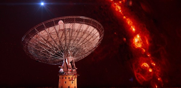 Artist's composite of the CSIRO's 64m Parkes Radio Telescope showing an extragalactic radio burst appearing briefly, far from the Milky Way's disk. Credit: CSIRO/Harvard/Swinburne Astronomy Productions
