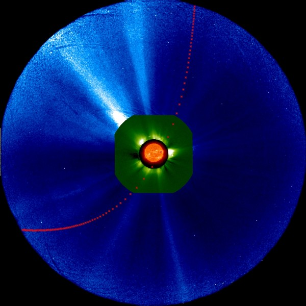 Predicted hour-by-hour position of Comet ISON in various instruments on one of NASA's Solar Terrestrial Relations Observatory spacecraft between 1 a.m. EST on Nov. 26, 2013, and 7 p.m. EST on Nov. 29, 2013. The blue field of view is from the outer coronagraph and green from the inner coronagraph. Image Credit: NASA/STEREO/Goddard Space Flight Center