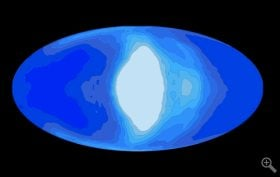 This illustration shows simulated cloud coverage (white) on a tidally locked planet (blue) that would be orbiting a red dwarf star. Planetary scientists at UChicago and Northwestern are applying global climate simulations to problems in astronomy.